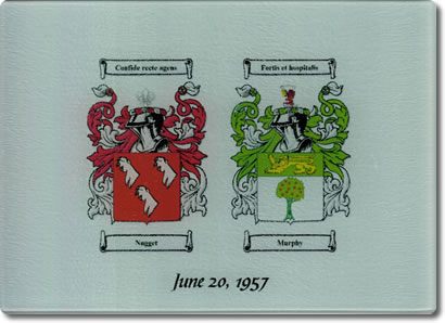 Double Coat of Arms Glass Cutting Board