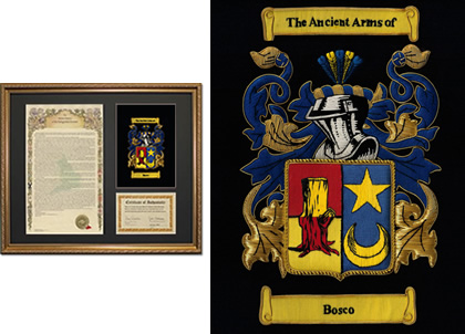 Embroidered Coat of Arms and Surname History