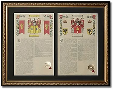 Double Armorial History Framed - Gold